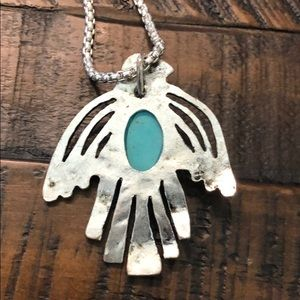 Jewelry - Silver and turquoise bird statement necklace